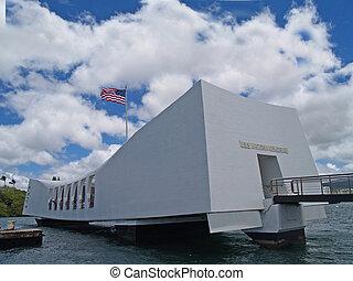 nous, drapeau, au-dessus, USS, Arizona, Memor