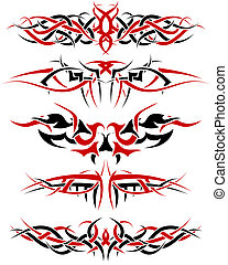 tattoos set - Black with red patterns of tribal tattoo for...