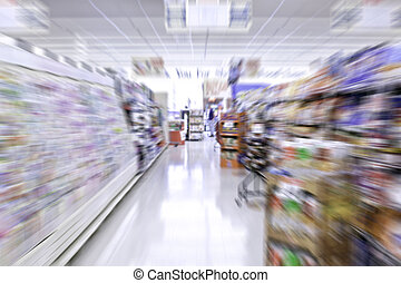 Grocery Store Aisle - view down a grocery store aisle with...