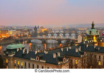 vista, Praga, pontes, pôr do sol