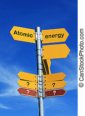 "Atomic energy? - ""Atomic energy?"" direction sign"