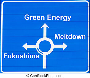 "Atomic energy - ""Atomic or green energy"" road sign"