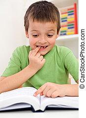 escuela, niño, lectura, problemas