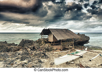 Fisherman hut on the coast Bohol Philippines