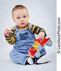 bebé, niño, plaing, el suyo, juguete, coche