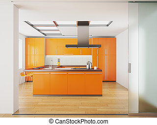 Interior of modern orange kitchen - 3d render of modern...