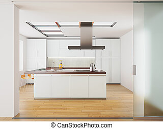modern white kitchen - 3d render of modern white kitchen