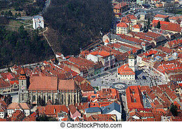Brasov, Romania, with Black Church and Council Square, Tampa...