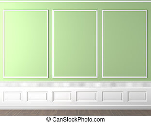 green classic wall copy space - interior scene of empty...
