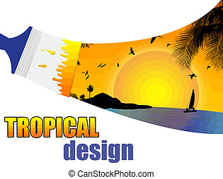 Tropical paradise  paint by brush