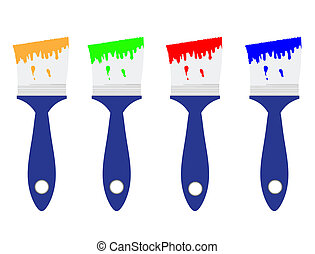 Colored paint brushes set, isolated on white, vector...