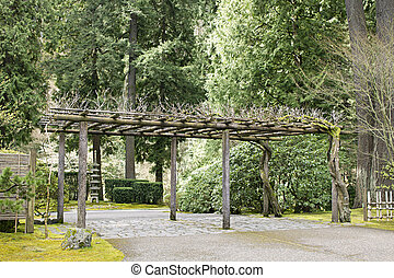 Trellis at Portland Japanese Garden - Trellis Structure at...