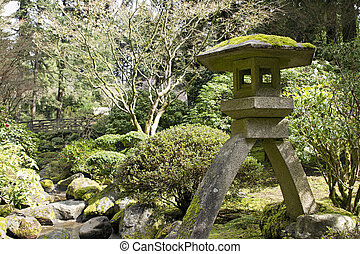 Japanese Stone Lantern by the Creek