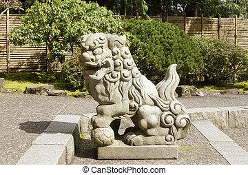 japonés, piedra, guardián, leones, Escultura