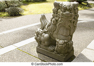 Japanese Stone Guardian Lion with Cub Sculpture - Stone...