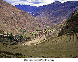 Terraces in the Peruvian Andes - Terraces for agriculture in...