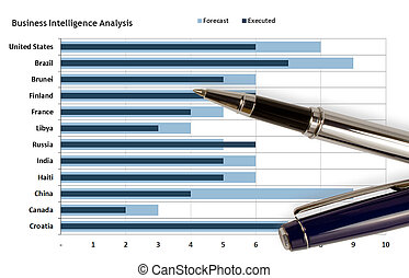 Pen on business graph - Pen over a business inteligency...