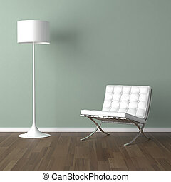 white barcelona chair and lamp on green - interior design...