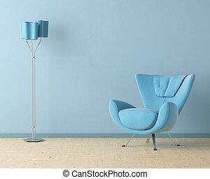 azul, interior, diseño, escena