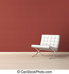 White chair on red wall - White leather chair on a red wall...