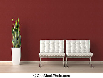 interior design of two white chair on a red wall - Interior...