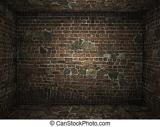 grungy,  Interior, tijolo, sala