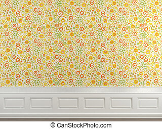 flowery wallpaper wall - Interior scene of flowery wallpaper...