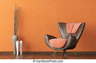modern leather couch on orange wall - Interios design scene...