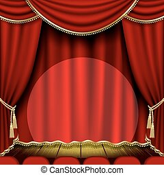 Theater stage with red curtain Clipping Mask