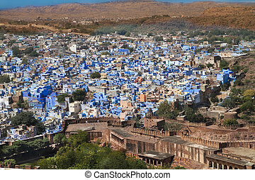 A view of the Blue City in Jodhpur, India.