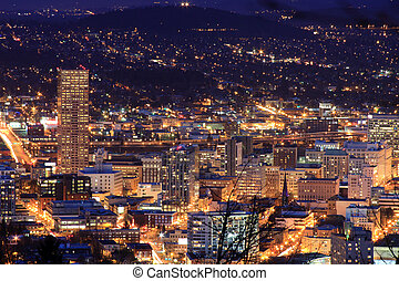 Beautiful Night Vista of Portland, - View of Portland,...