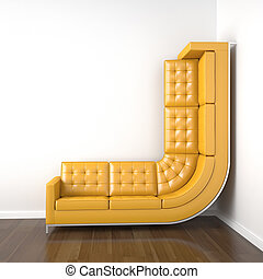 yellow couch bended to climb up wall - interior design with...
