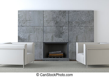 sofas and fireplace - interior design of modern armchairs on...