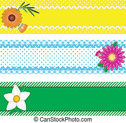 Three Vector Borders With Flowers - Eps10. Three vector...