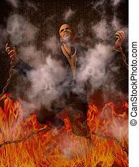 hombre, encadenado, infierno