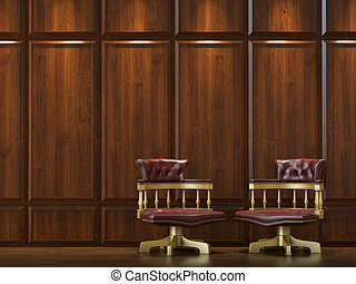 cladding wall with chairs