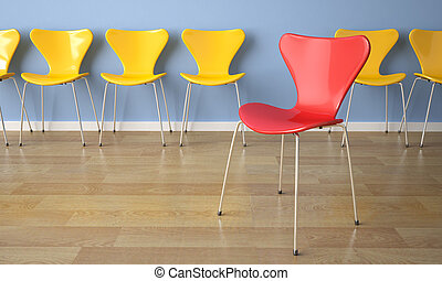 row of chairs on blue wall