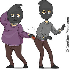 Funny Robbers - Illustration of a Pickpocket Taking Another...