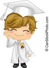 Kid Graduate - Illustration of a Kid Waving and Wearing...