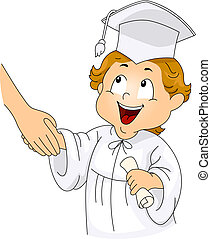 apretón de manos, graduación