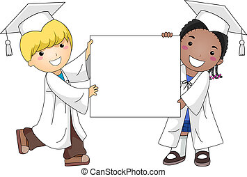 Graduation Banner - Illustration of Kids Holding a Blank...