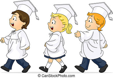 Graduation March - Illustration of Kids Participating in the...