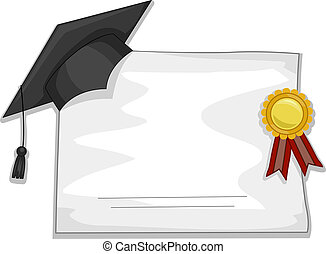 Graduation Diploma - Illustration of a Graduation Cap and...