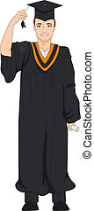 Graduate Tassel - Illustration of a Guy Holding the Tassel...