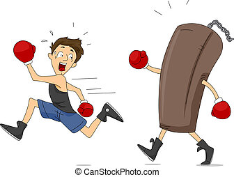 Punching Bag Revenge - Illustration of a Punching Bag...