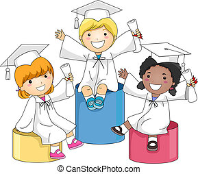 Kids Graduation Level - Illustration of Kids Sitting on...