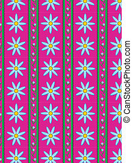 Vector Floral Pink Striped Wallpape - Eps10 Vector swatch...