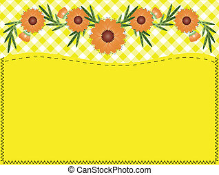 Vector Zinnia, Gingham, Quilting