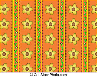 Vector Floral Orange Striped Wallpa - Eps10. Floral vector...
