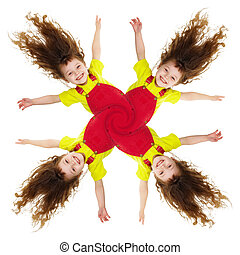 Cheerful collage - pinwheel of smiling little girls isolated...